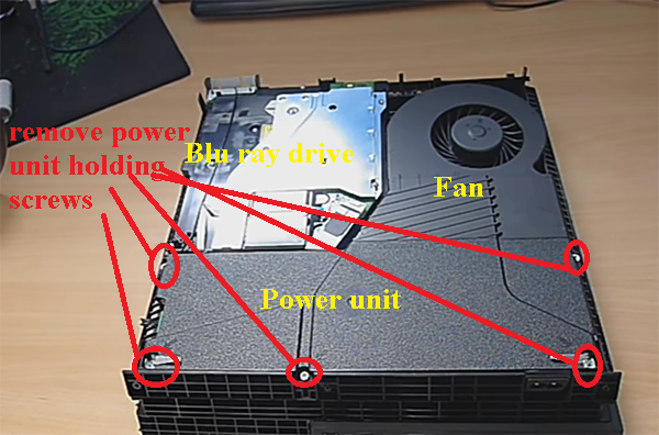 Revealed inner parts; fan, disk drive, power unit; PS4 console
