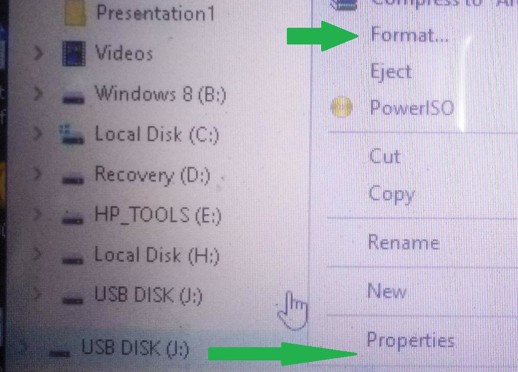 right click USB storage on pc then properties